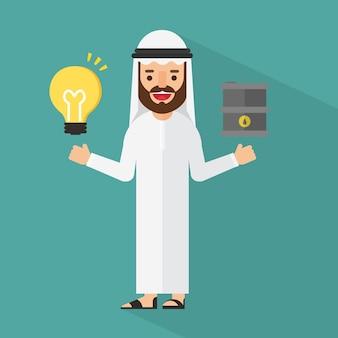 Arabski biznesmen z wieżą wiertniczą i pieniądze