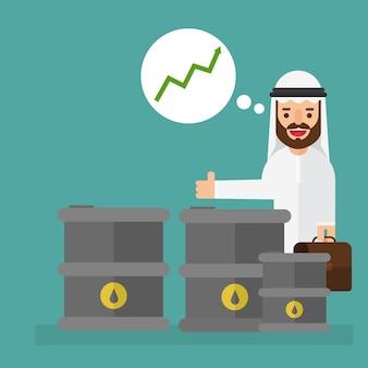 Arabski biznesmen z wzrostem cen ropy naftowej