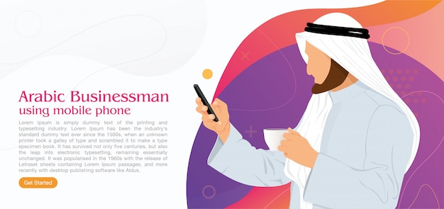 Arabski człowiek biznesu za pomocą internetu telefon komórkowy