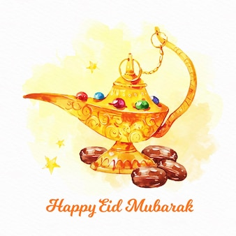 Arabski dżin złota lampa eid mubarak