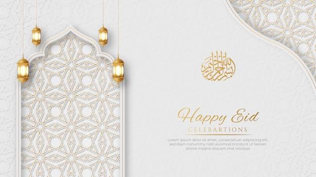 Arabski islamski elegancki biały i złoty luksusowy ozdobne tło z dekoracyjnymi latarniami