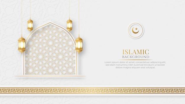 Arabski islamski elegancki biały i złoty luksusowy ozdobny sztandar z islamskim wzorem i dekoracyjnym ornamentem latarniowym