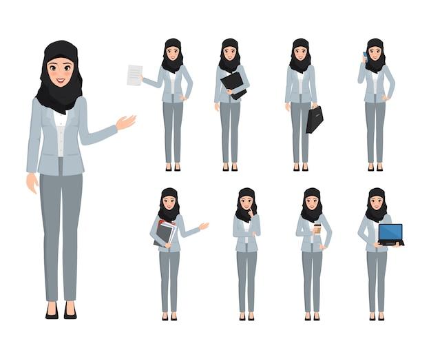 Arabski kobieta charakter z różną pozą w pracie.