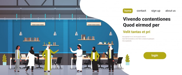 Arabski ludzi pracy zespołowej komunikacja koncepcja arabski biznes mężczyźni kobiety tradycyjne ubrania nowoczesne biuro wnętrze pełne długości postaci z kreskówek