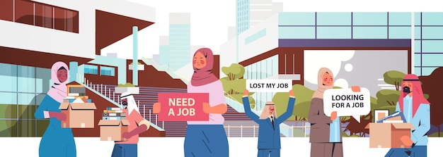 Arabski menadżerowie hr trzymający zatrudniamy dołącz do nas plakaty wakat otwarta rekrutacja koncepcja zasobów ludzkich tło pejzaż poziomy portret wektor ilustracja