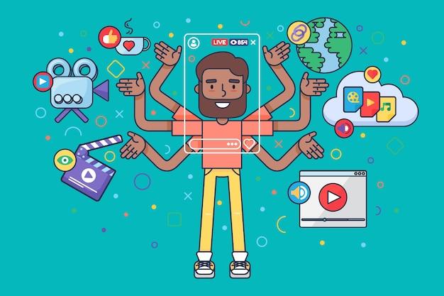 Arabski męski vlogger styl życia półpłaski ilustracja koncepcja
