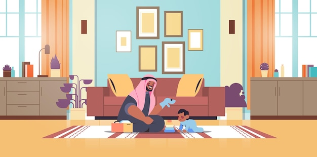 Arabski ojciec bawiący się z małym synem w domu ojcostwo koncepcja rodzicielstwa tata spędzający czas z dzieckiem nowoczesna kuchnia wnętrze poziome pełnej długości ilustracja wektorowa