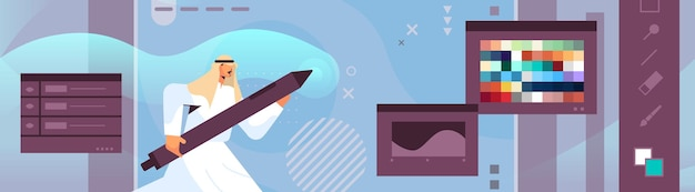 Arabski projektant rysowanie piórem w edytorze graficznym arabski mężczyzna tworzenie strony internetowej interfejs użytkownika projekt graficzny interfejs użytkownika koncepcja usługi kreatywnej ilustracja wektorowa portret poziomy