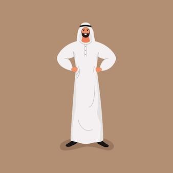 Arabski przystojny brodaty mężczyzna w tradycyjnych białych strojach w przyjaznej pozie. w stylu kreskówki