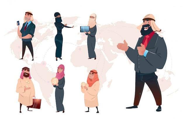 Arabski saudyjski biznesowy mężczyzna ustawia światowej mapy tło