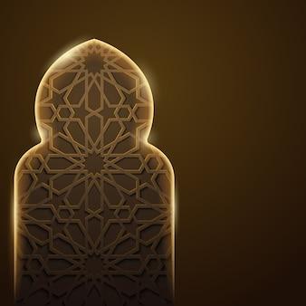Arabski tło na jarzeniowym meczetowym drzwi