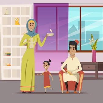 Arabski tło rodzinne
