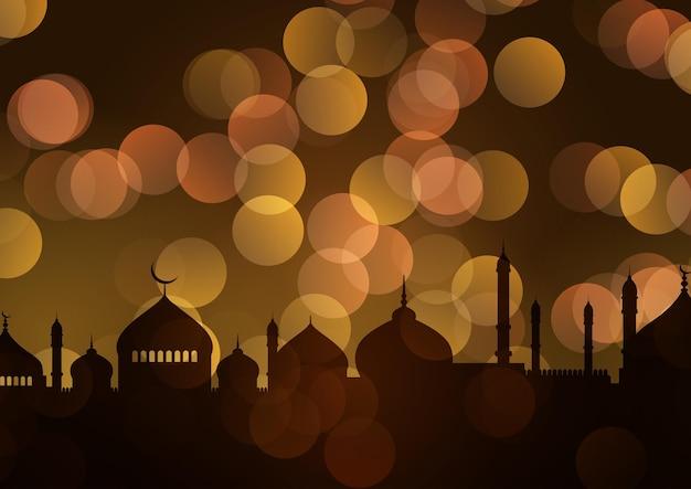 Arabski tło ze złotymi światłami bokeh i gwiazdami