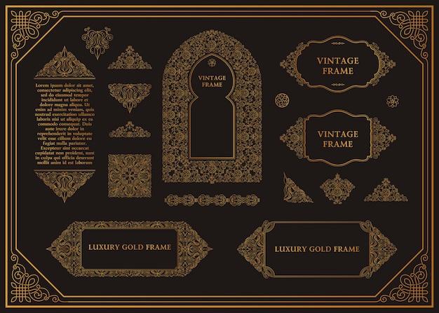 Arabski wektor zestaw ramek, linie, szablony projektów artystycznych muzułmańskie elementy konturu złota i emblematy