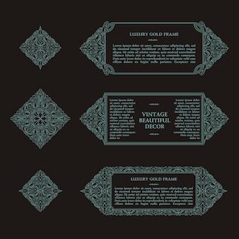 Arabski wektor zestaw ramek linii szablonów projektu