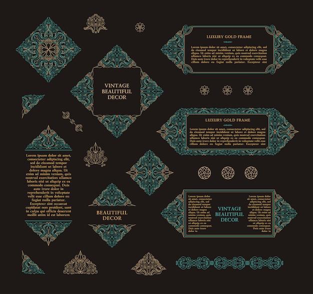 Arabski wektor zestaw ramek linii sztuki projektowania szablonów