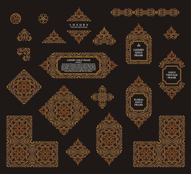 Arabski wektor zestaw ramek linii sztuki projektowania