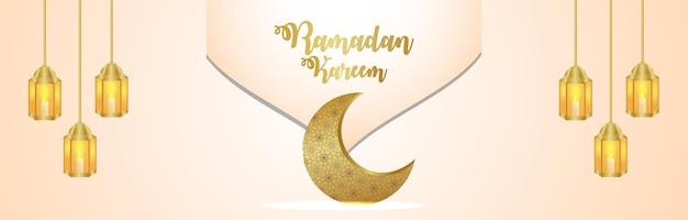 Arabski wzór księżyca i latarnia islamskiego festiwalu ramadan kareem banner