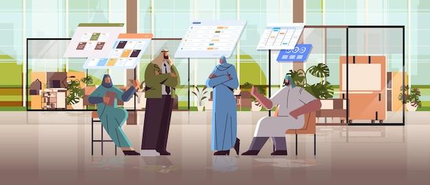 Arabski zespół biznesmenów analizujący dane statystyczne na wirtualnych tablicach udana koncepcja pracy zespołowej