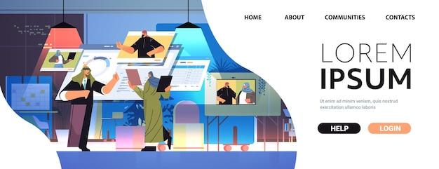 Arabski zespół przedsiębiorców analizujący dane statystyczne z kolegami podczas rozmowy wideo komunikacja online koncepcja pracy zespołowej ilustracja wektorowa poziomej kopii przestrzeni