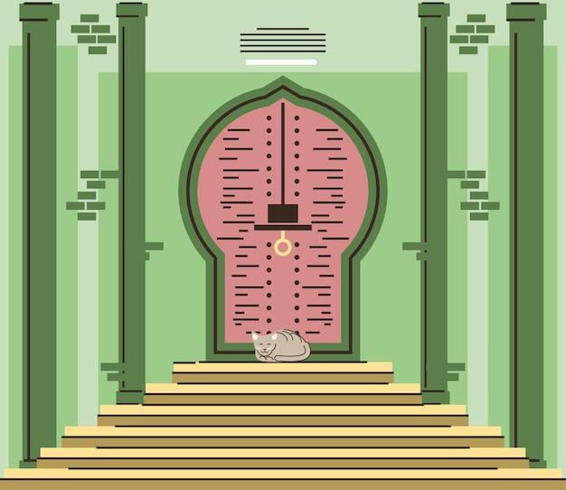 Arabskie drzwi z widokiem z przodu