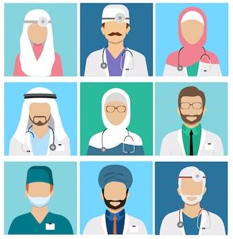 Arabskie muzułmańskie awatary personelu medycznego. lekarz i lekarz, chirurg i pielęgniarka, dentysta i farmaceuta ikony. zestaw awatarów