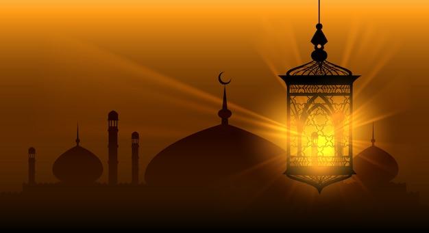Arabskie noce ramadan kareem islamskie tło