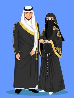 Arabskie panny młode z czarnych ubrań.