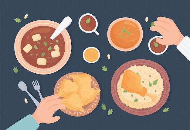 Arabskie tradycyjne potrawy, widok z góry
