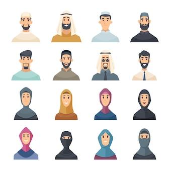 Arabskie twarze. awatary postacie muzułmańskie portrety arabskich mężczyzn i kobiet wschodu wektor zestaw. ilustracja awatar portret postaci muzułmańskiej twarzy