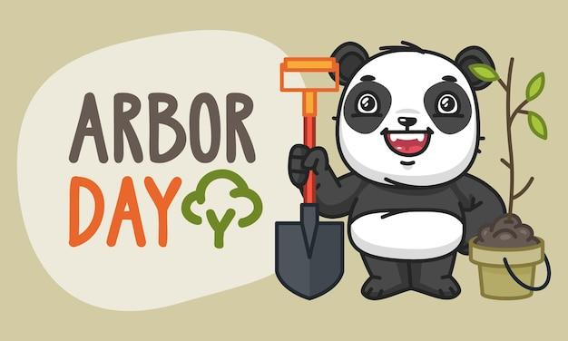 Arbor day panda znaków trzymając łopatę i śmieje się. ilustracja wektorowa. postać maskotki.