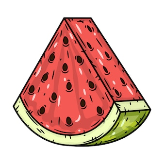 Arbuz. kawałek kreskówki arbuza. ilustracja.