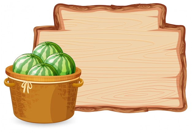 Arbuz na drewnianej desce