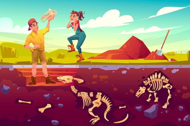 Archeolodzy, paleontolog cieszą się z odkrywania artefaktów czaszki dinozaurów, naukowcy pracujący nad wykopaliskami kopiącymi warstwy gleby badającymi kości szkieletów dinozaurów, ilustracja kreskówka wektor