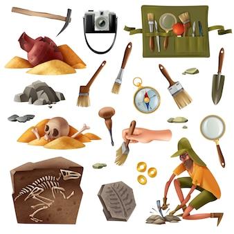 Archeologia zestaw zdjęć na białym tle elementów kopania artefaktów wykopalisk sprzęt z doodle stylu ludzkiego charakteru