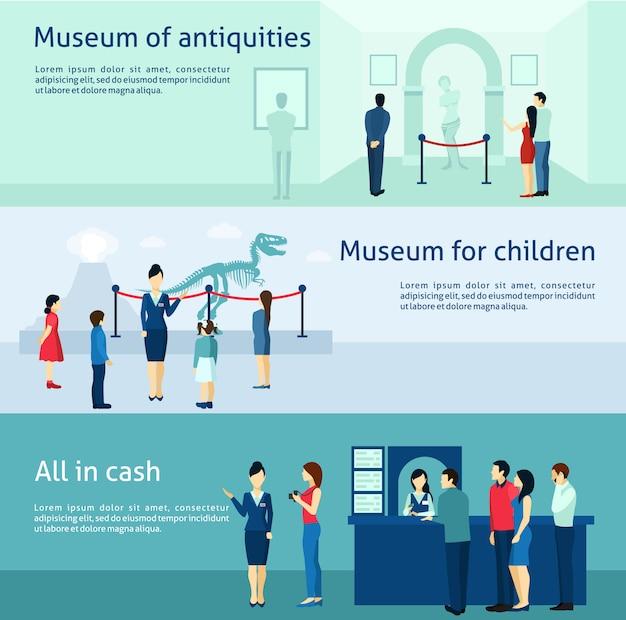 Archeologiczne starożytności muzeum płaskie banery zestaw