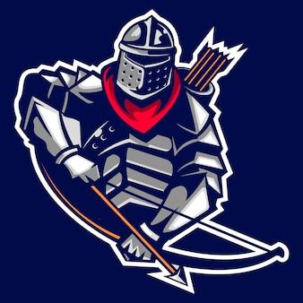 Archer rycerz starożytnego logo maskotka cesarza