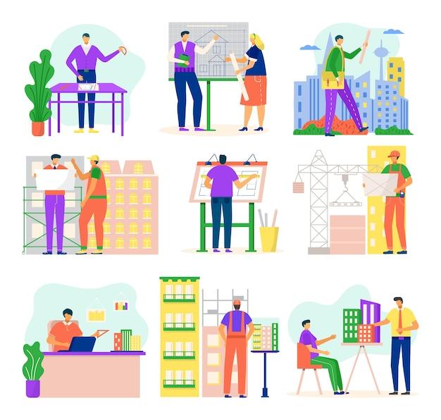 Architekci i inżynierowie budowlani pracujący nad ilustracją projektu architektury na białym tle. zawód inżyniera budownictwa, zawód architekta lub zestaw zadań.