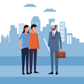 Architekt I Pracownicy Premium Wektorów