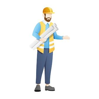 Architekt lub inżynier noszą niebieskie arkusze