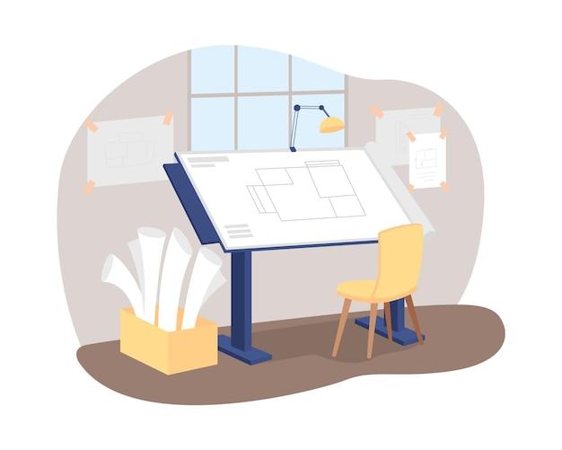 Architekt miejsca pracy 2d baner internetowy wektor, plakat. projekt do budowy podłogi. profesjonalny obszar roboczy płaskie wnętrze na tle kreskówka. łatka do nadruku w miejscu pracy wykonawcy, kolorowy element sieciowy