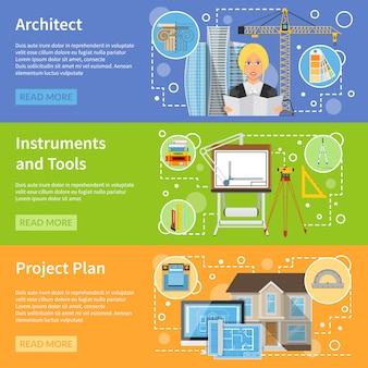 Architekt płaskie poziome banery