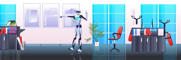 Architekt robotów inżynier robotów pracujący z nowym budynkiem miejskim modelem miejskim projektem panoramowania