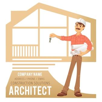 Architekt w kasku z planami i kluczami w ręku na tle zbudowanego domu