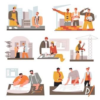 Architekt ze schematami i budowniczych z narzędziami w miejscu pracy