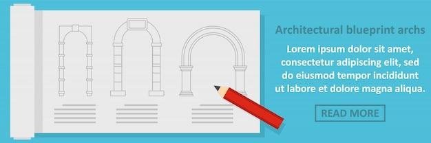 Architektoniczny plan archs banner poziomy koncepcja