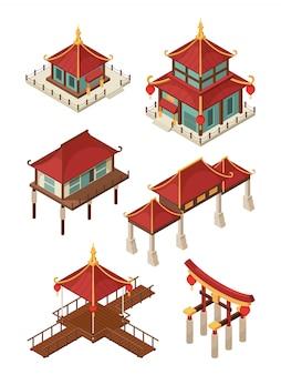 Architektura azjatycka izometryczny. tradycyjne chińskie i japońskie domy budynków dachowe ilustracje 3d