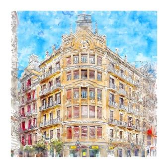 Architektura barcelona hiszpania szkic akwarela ręcznie rysowane ilustracja