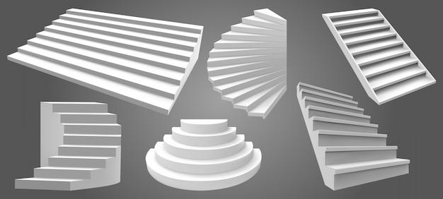 Architektura białe schody realistyczne. proste schody wewnętrzne, nowoczesne stopnie drabinowe. zestaw ilustracji schodów. schody architektury wnętrz, schody do wspinania się po karierze