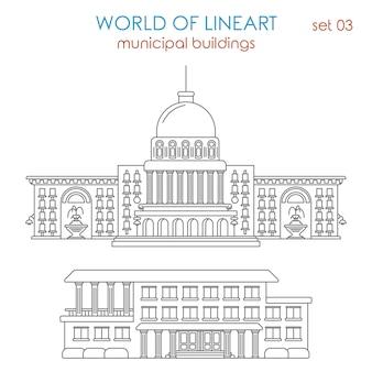 Architektura budynku rządu miejskiego al lineart style set. świat kolekcji grafiki liniowej.
